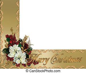 kerstmis, goud, linten, grens