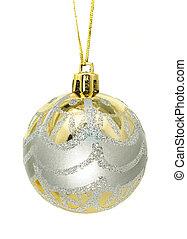 kerstmis, goud, -, zilver, versiering, begroetenen, bauble