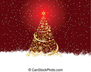kerstmis, gouden, boompje
