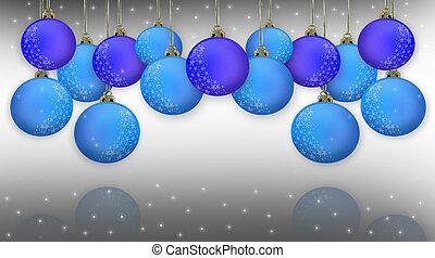 kerstmis, grens, blauwe , versieringen