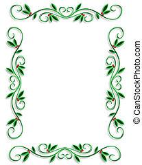kerstmis, grens, frame, eenvoudig