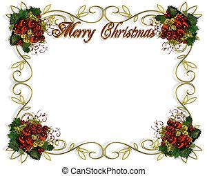 kerstmis, grens, frame, elegant