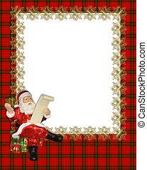 kerstmis, grens, frame, rood, ruitjes