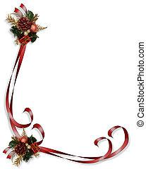 kerstmis, grens, frame