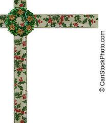 kerstmis, grens, hulst, linten