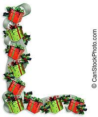 kerstmis, grens, kadootjes, en, hulst