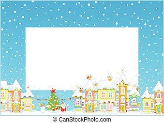 kerstmis, grens, met, een, speelbal, stad