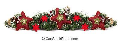 kerstmis, grens, met, rode ster, versieringen, vrijstaand, op wit