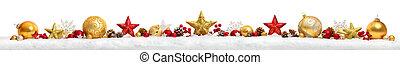 kerstmis, grens, of, spandoek, met, sterretjes, en, baubles, witte achtergrond