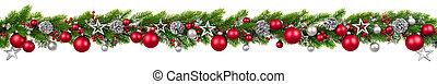 kerstmis, grens, op wit, hangend, verfraaide, guirlande