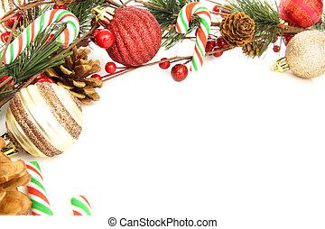 kerstmis, grens, van, baubles