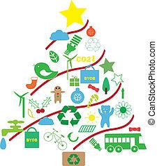 kerstmis, groen boom
