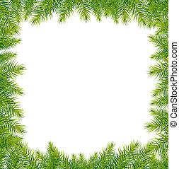 kerstmis, groene, kader