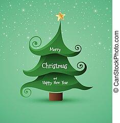 kerstmis, groet, card.