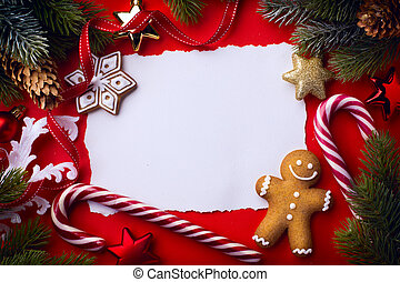 kerstmis, groet, card;, kerstmis boom decoratie, op, rode achtergrond