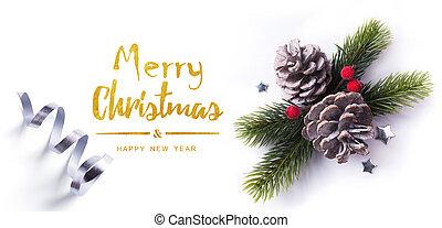 kerstmis, groet, card;, kerstmis, element, op wit, achtergrond;, bovenzijde, view;