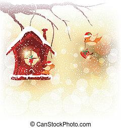 kerstmis, groet, zenden, vogel, robin, kaart