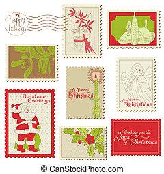 kerstmis, groot, set, postzegel, ouderwetse , -, verzameling, ontwerp, plakboek, uitnodiging, jouw