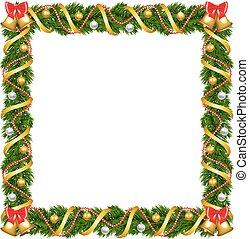 kerstmis, guirlande, frame