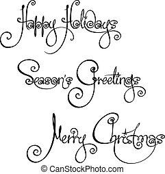 kerstmis, handschrift, drie, wi, tijd