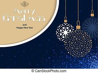 kerstmis, hangend, baubles, kaart, groet