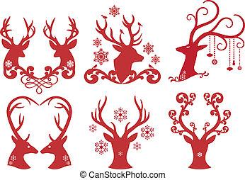 kerstmis, hertje, hert, hoofden, vector