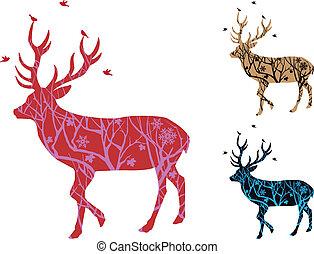 kerstmis, hertje, met, vogels, vector