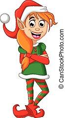 kerstmis, het poseren, elf