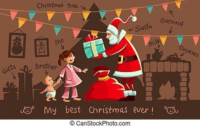 kerstmis, holiday., santa claus, en, geitjes