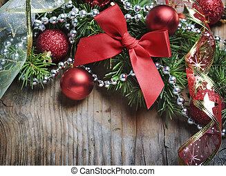 kerstmis, houten, achtergrond
