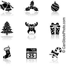 kerstmis, iconen, met, reflectie