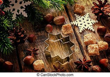 kerstmis, ingredienten, bakken