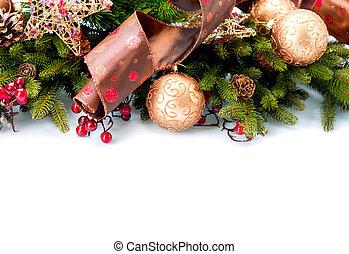 kerstmis., jaarwisseling, decoraties, vrijstaand, op wit, achtergrond