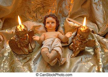 kerstmis kaart, baby jesus, en, twee, verlicht, kaarsjes