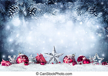 kerstmis kaart, -, baubles