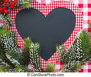 kerstmis kaart, leeg, in, hart gedaante