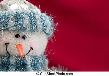 kerstmis kaart, met, een, sneeuwpop