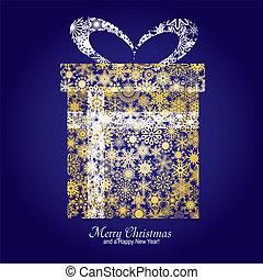 kerstmis kaart, met, giftdoos, gemaakt, van, goud, snowflakes, op, blauwe achtergrond, en, een, wensen, van, zalige kerst, en, een, gelukkig nieuwjaar, vector, illustratie