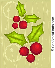 kerstmis kaart, met, hulst bes