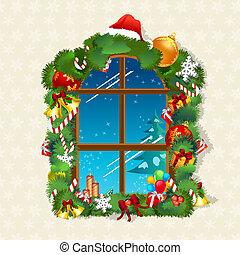 kerstmis kaart, met, kadootjes, op, venster