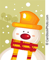 kerstmis kaart, met, sneeuwpop