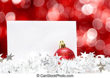 kerstmis kaart, op, rode achtergrond