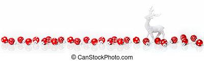 kerstmis kaart, spandoek, met, rood, baubles, en, rendier