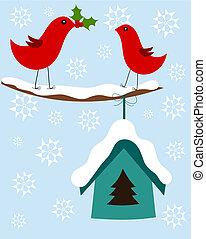 kerstmis kaart, vogels