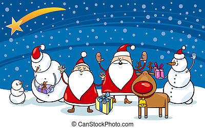 kerstmis, karakters, spotprent