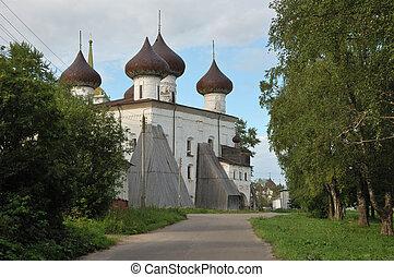 kerstmis, kathedraal, in, kargopol, rusland