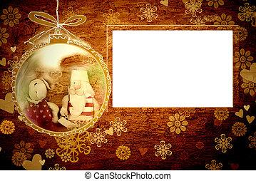 kerstmis, kerstman, kader, kaart