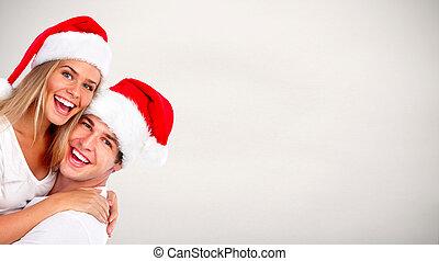 kerstmis, kerstman, paar.