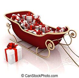 kerstmis, kerstman, slede, met, kadootjes, op, een, witte...