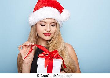 kerstmis, kerstman, woman.
